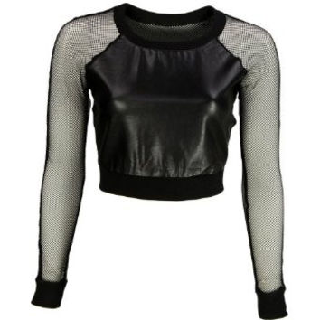 Take Me Out To The Ball Game  Faux Leather Mesh Panel Crop Top
