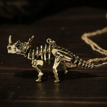 1- Triceratops Skeleton Necklace 3D Mechanical Dinosaur Jurassic Park Double Sided Bones Creepy Jewelry PeculiarCollective Finished Necklace
