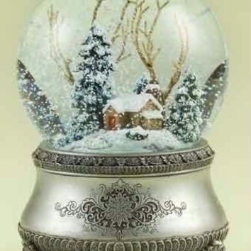 "2 Winter Cottage Glitterdomes - Each Winds Up To Play The Tune  "" I'll Be Home For Christmas """