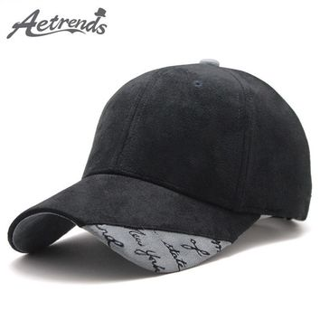 Trendy Winter Jacket [AETRENDS] 2018 New Suede Fabric Baseball Cap Men Women Cotton Snapback Hats Z-6244 AT_92_12