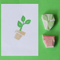 Hand Carved Rubber Stamp - Plant in Pot no.3, set of 2 (Handmade / Hand Carved / Handcarved Rubber Stamp)