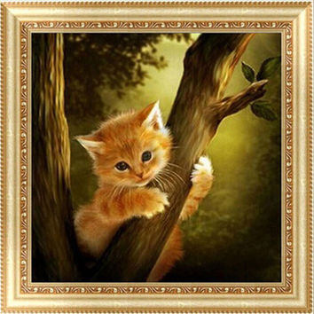 DIY 5D Diamond Switch Kit Embroidery Cat on the Tree Painting Mosaic Needlework Cross Stitch Christmas Home Decor Craft 25*25cm