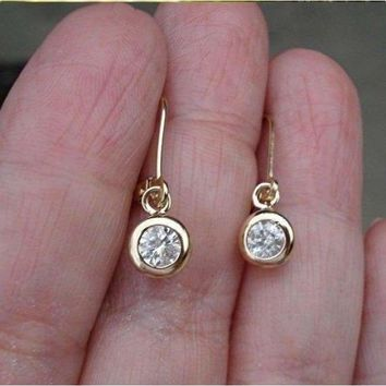 Luxinelle 0.40 Carat Bezel Diamond Dangle Drop Earrings in 14K Yellow or White Gold Leverback