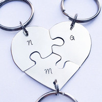 Hand stamped friendship puzzle keychain, shaped like a heart - perfect for 3 people