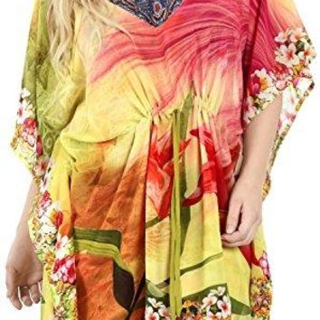 La Leela Chiffon Digital Womens Soft Kaftan Style Beachwear Bathing Suit Cover up Nightgown Dress
