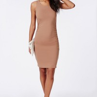 JERSEY RUCHED SIDES SLEEVELESS BODYCON DRESS CAMEL