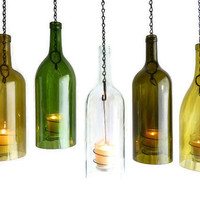 Clear Wine Bottle Hanging Hurricane Lantern Big 1.5L Candle Holder