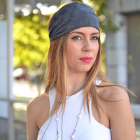 Stylish Workout Grey Headband Dark Wide Bandana Fashion Womens Accessory Bohemian Style Cotton Headband - Handmade