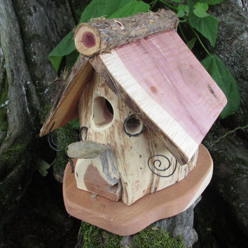 Wood Bird House Made From Reclaimed Cedar Log - Makes Great Birthday Gift or Anniversary Gift