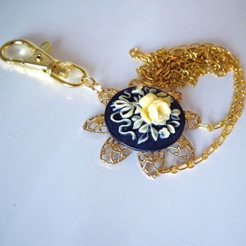ID Badge Beaded Lanyard, Gold Chain,Black Round Cameo with Butter Yellow Rose, Gold Filigree