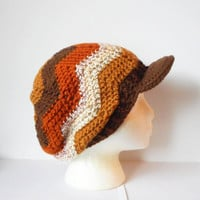 Crochet Chevron Stitch Slouchy Tam with Wide Brim in Venice, MADE TO ORDER.