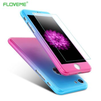 FLOVEME For iPhone 6s Case iPhone 7 Cases Full Body Protection Cover For iPhone7 6 Plus 360 Degree Gradient Capa Fundas Phone