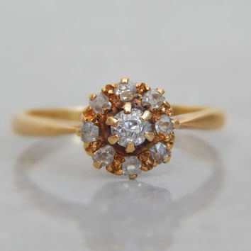 victorian engagement ring - 0.45ct old cut and rough cut diamond flower head ring in fine 18ct gold