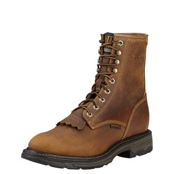"""Ariat Mens Work Hog 8"""" Aged Bark Lace Up Leather Work Boot"""