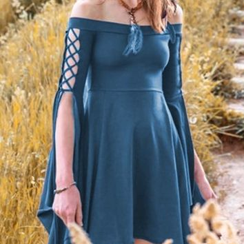 Blue Pleated Swallowtail Off Shoulder Lace-up High Waisted Retro Cute Country Midi Dress
