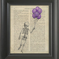 A Skeleton Holding Balloons - Printed on friendship page  -  250Gram paper.