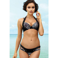 Leopard Printed Bikinis Set Rivet Halter Swimwear Beach Bathing Suit