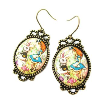Alice in Wonderland Themed Bunny Rabbit Whimsical Illustrated Dangle Earrings