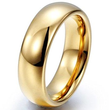 6mm Tungsten Carbide Ring 18k Gold Plated Simple Style Wedding Engagement Band