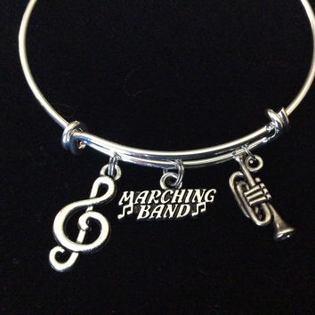 Musical Notes Marching Band Silver Trumpet Charm Expandable Bracelet Adjustable Wire Bangle Gift Trendy Musician Music teacher Notes Handmade Inspired