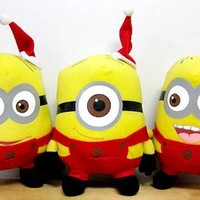 """Despicable Me The Movie Official 6"""" Inch Soft Plush Toy Minion Figures Christmas Santas Little Helpers Dave Jorge Stewart Stuart Limited Edition Doll Set"""