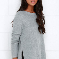 Project Social T What's the Fuzz Grey Sweater Top