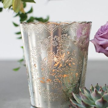 """Silver Mercury Glass Scalloped Desiray Floral Vase - 9"""" Tall x 5.5"""" Wide"""