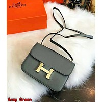 Hermes High Quality Classic Popular Women Shopping Bag Leather Crossbody Satchel Shoulder Bag Army Green