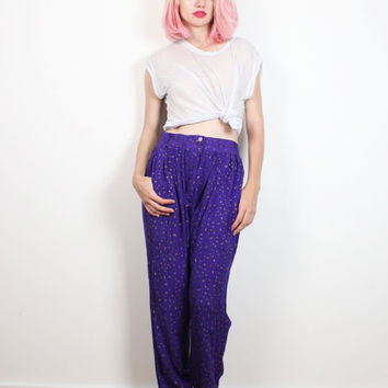 Vintage 80s Pants Purple Black Gold Polka Dot New Wave High Waisted Pants 1980s Boho Slouchy Harem Pants New Wave Slacks M Medium L Large