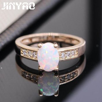 JINYAO Beautiful Romantic Charm Fire Opal Gold Color Wedding Ring For Women Wedding Party Engagement Promise Best Gift 5colors