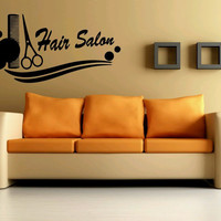Wall Vinyl Sticker Decals Mural Design Art Hair Business Sign Salon Scissors Comb Haircut 731