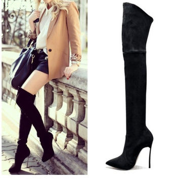 35-43 Women Open Mouth Long Boots Black Velvet Over the Knee Boots Tight High Fashion Boot Ladies Spring Autumn Runway Bottee