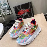 Versace Fluo Barocco Print Chain Reaction Trainers Sneakers - Best Online Sale