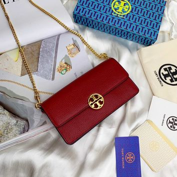 Kuyou Gb99822 Tory Burch Chain Flap Wallet In Red Grained Leather 19x10.5x5cm