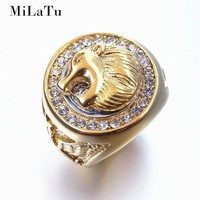 MiLaTu Exclusive Hip Hop Cool Lion Head Ring Stainless Steel Iced Out Bling Rhinestone Ring Men