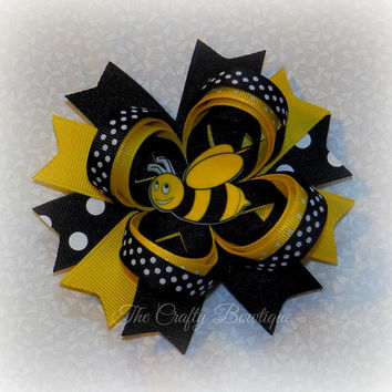 Bumble Bee Bow ~ Fancy Bumble Bee Bow ~ Yellow & Black Bow ~ Large Bumble Bee Bow ~ Bumble Bee Loopy Bow ~ 4 inch Hair Bow ~ Polka Dot Bow