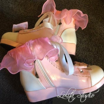 Sweet Lolita Harajuku Kawaii White Pink Bow Low Wedge Lace Love Heart Large Ruffle Fork Spoon Sneaker Sport Shoes [S6]