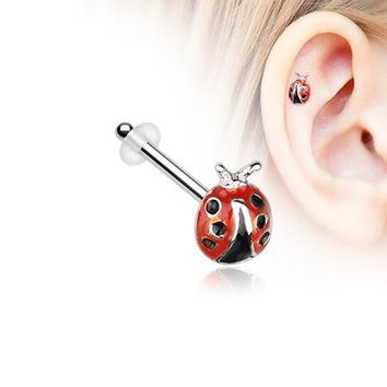 Adorable Dainty Ladybug Piercing Stud with O-Rings
