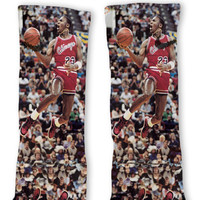 MJ Michael Jordan 23 Chicago Bulls Custom Nike Elite Socks