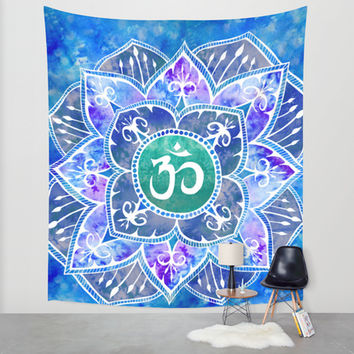 Om Mandala Watercolor Blue Wall Tapestry by PatriciaRoberta