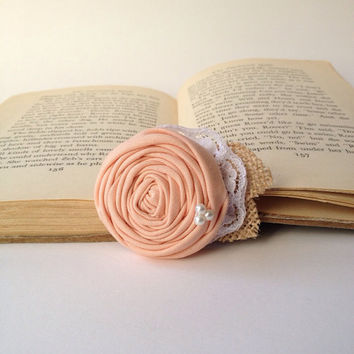 Peach wedding Shabby chic rustic vintage rosette hair piece accessory burlap pearls lace clip fabric flower girl bridal bridesmaid rose