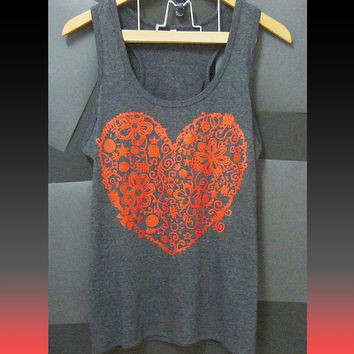 Heart shirt graphic cool tank red flower print Valentine day gift ideas size S M L XL XXL sleeveless top/ singlet/ sales t shirt/ clothes