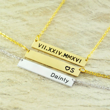 Personalized Name Engraving Alloy Jewelry Roman Numeral Necklace / Personalized Bar Necklace Initial Necklace