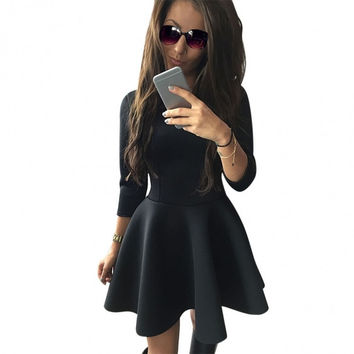 Stylish Women 3/4 Sleeve Dress Ladies Evening Party Slim Mini Skater Dress