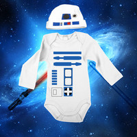 Star Wars Baby R2D2 Bodysuit Long Sleeve Set With A Beanie And A Lap Shoulder Fold Snap On Buttons Robot  Costume May The Force Be With You
