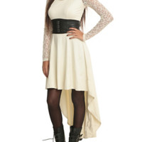 Royal Bones By Tripp Ivory Lace Sleeve Dress