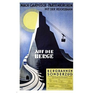 auf die berge VINTAGE TRAVEL POSTER ski lift WINTER SPORTS germany 24X36