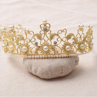 2016 Fashion bridal tiara crown pearl gold plated wedding hair accessories jewelry 1pcs/lot vintage headwear free shipping