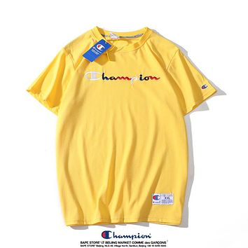 Champion Classic Popular Women Men Casual T-Shirt Top Blouse Yellow