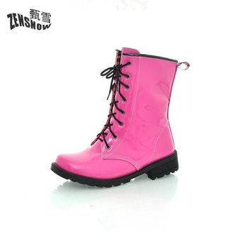 Brand color female boots Martin Boots Lace Up Bright Red And Yellow Paint Black  White Candy Colored Students Lolita Boots333